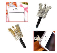 Cheap 20Pcs/Lot New Lovely Cute Crown 3.5mm Anti Dust Proof Crystal Earphone Jack Plug Stopper Cap for iPhone Free Shipping