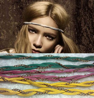 free shipping/2013 fashion gold chain headband,leather hairband,fashion hair accessory 10pcs/lot mix color wholesale