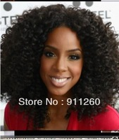 Fashion! Free Ship! High Density Glueless Lace Front Human Hair Wigs,African American Curly For Black Women