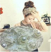 free shipping/2014 women headband,lace big pearl hair band,6.5 cm width fashion hair accessory 12pcs/lot