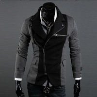 Free shipping New style fashion mens coats STYLISH PREMIUM CASUAL JACKET Western-style  men clothes Gray black SIZE M-XXL