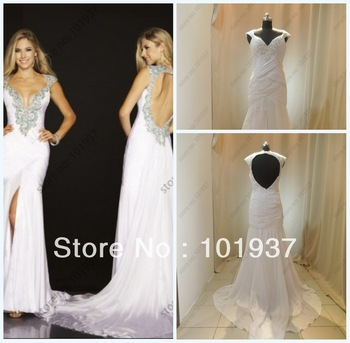 Real Sample Cheap Sexy Deep V-Neck Mermaid Beaded Open Back Prom Dresses Long