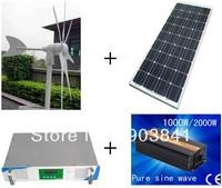 500w hybrid system,300w wind turbine+100w x2 solar panel+1000w hybrid controller+1000w inverter,high quality,free shipping