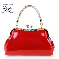 2014 new fashion female candy color small diamond bridal totes marriage japanned leather women's handbag red