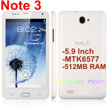 Note 3  Android Smart Phone 5.9 Inch Screen MTK6577 1GHz Dual Core 3G WCDMA 512MB RAM 2GB ROM WiFi GPS 8MP Camera White or Black