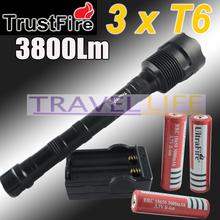 Free shipping,Trustfire 3T6 Flashlight 5 Mode 3800 Lumen CREE XM-L T6 LED Flashlight + 3 18650 battery+ Charger(China (Mainland))