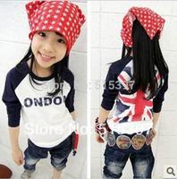 Free Shipping,100% cotton 2014 spring m word flag boys clothing girls clothing baby long-sleeve T-shirt hot sale(CC001NTX1238)