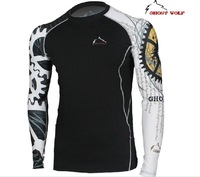 Ghost Wolf tights quick-drying wicking long-sleeved sport training T-shirts #JS015B