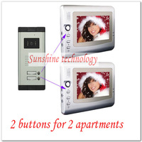 New Multi-unit Video intercom system/door phones/door bells ( Two buttons outdoor camera+2pcs 7inch color TFT LCD ) dropshipping