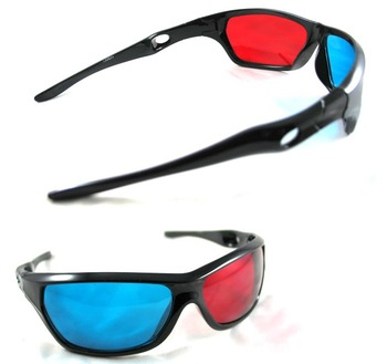 2013 CPAM Free+10pcs/lot Re-useable sport Style 3D glasses/Plastic Black Frame 3D glasses/Red blue 3D glasses for Titanic