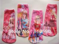Wholesale hot sale kids cotton socks children's colorful socks baby girls cartoon pink doll stock 24 pair/lot 4 designs