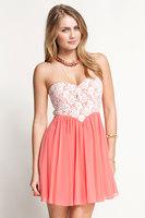 2014 Brand Sexy Strapless Sweet Pink Heart Shape Flower Lace Crochet Pleated Zipper Back Tunics Celebrity Chiffon Club Dress