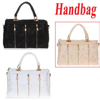 New Fashion Women's Lady Retro Lace Handbag PU (Faux) Leather Designer Tote Crossbody Shoulder Bag