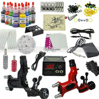 Hot Wholesale 2013 hot sale Tattoo Kit Set 14 color Inks Power 2 Dragonfly Guns complete Tattoo Kits
