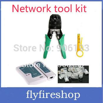 Promotion!! Free shipping network Cable Tester RJ12 CAT5 CAT5e 10/100 RJ45 Modular Plugs+Crimp Tool