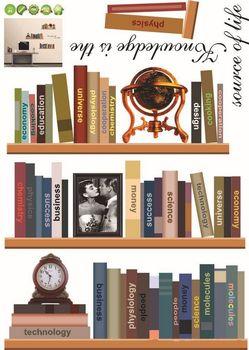 decorative book shelves wall sticker bedroom wallpaper urban decal