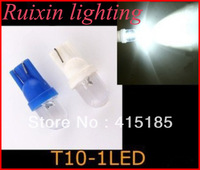 Wholesale Free Shipping + 300pcs/lot + T10 W5W 168 194 1 LED Car Wedge Light Lamp Bulbs White Color