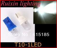 Wholesale Free Shipping + 300pcs/lot + T10 W5W 168 194 1 LED Car Wedge Light Lamp Bulbs White Color