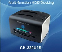 "USB3 0 SATA 2 5"" 3 5"" SATA HDD SSD Dual Docking Station USB 2 0 Card Reader"