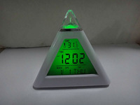 1lot=25pcs Free shipping Alarm Clock  practical and fashion  beautiful 7-LED Colors Pyramid Digital LCD Alarm Clock Thermometer