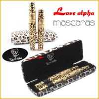 1SET Hot Waterproof Love Alpha Brand Double Mascara with Panther Case Double Mascaras Black Fiber