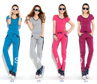 New arrival 2013 Summer Women Slim Short Sleeve T Shirt+Pants 2PCS Track Suits,Summer Lady Casual Jogging Suits Sport Set