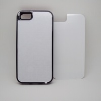 DIY 2D Sublimation Blank TPU+PC 2 in 1 phone cases and 3M Glue with Aluminum plate for iphone 5c 20pcs/lot free shipping