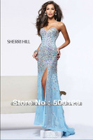 2014 New Attractive Sweetheart Beaded Off Shoulder Long Split Sheath Sexy Prom Dresses Evening Gowns For Party