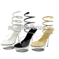 15cm sexy high-heeled shoes fashion women's sandals with crystal