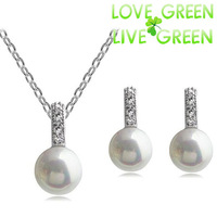 Free Shipping Hotselling New arrival classic simulated pearl crystal February Valentine gift necklace earrings jewelry set 4539