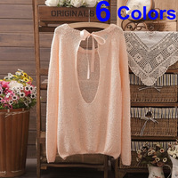 6 Colors 2013 New Brand Women Knitted Fashion Bowknot Sweater Cotton Winter Female Pullover Cardigan Brand  Hot Selling