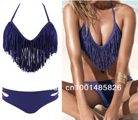 Free Shipping 2Pcs Brand New Hot Sexy Neck Strap Padded Tassels Bikini Swimwear Swimsuit /Beachwear Fringe T26 Purple SML /US468