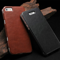 Luxury Flip leather case for Iphone5 with Ultrathin Aluminum cover inside Original eshow designer case for iphone 5g hybrid