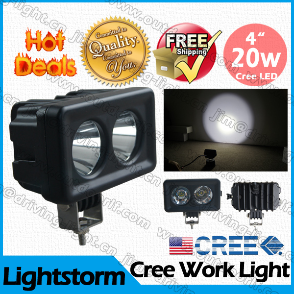 10 PcsFree shipp by DHL !! Hot SALE!right !20W LED WORK LIGHT Cree truck off road vehicle,heavy duty,trucks ,fork,trains ,boats(China (Mainland))