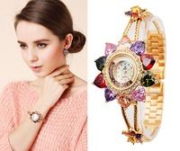 Free Shipping Luxury Crystal Rhinestone Fllower Bracelet Watch For Women,Women's Diamond Wristwatch Valentine's Day Gift WWL0023