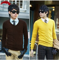 New Arrival Men's clothing 2014 autumn V-neck Pullover sweater commercial Solid  thin knitted plus size Slim men's sweater