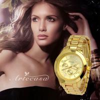 Newest Luxury Branded Fashion Steel Alloy Plated Lady Watch Band Dress Gift Bracelet Wrist Women Watch