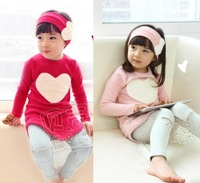 Girls Outfits Heart Shaped Red Shirt + Hat Wear + Leggings Kids Sets Size 3-8 Y