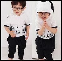 Retail 2015 New Hot Summer Cartoon Cotton Kids Clothes 2 ~ 9 Age Panda Children's Wear Hoodie + Harem Pants Free Shipping
