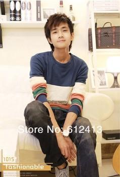 hot men's korean long-sleeved stitching fashion T-shirt plus size M,L,XL,XXL