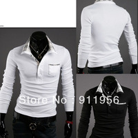 2011 New Casual Men's tshirt Korean stylish basic shirt Slim Long Sleeve T-Shirt Fit cotton turn-down collar autumn tops #50