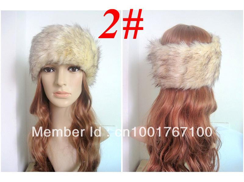 6pieces/lot Womens Thick Leopard Print Winter Warm Fur Headband Head Band, Elastic Free Size,Free Shipping(China (Mainland))
