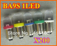 Free Shipping 200 pieces / lot BA9S 1 LED Car Indicator Light Interior Bulbs Wedge Lamp BA9S 1LED 12V