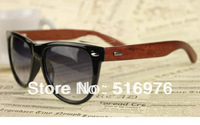 Free Shipping New 2014 Arrival Red Wood Sun Glasses For Men And Women Big Frame Metal Nail Vintage Banboo Sunglasses 10pcs/Lot