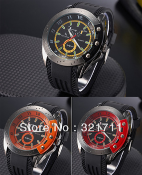 Retro style V6 Men's Sports Round yellow/orange/red Dial Hour  Metal screw design Quartz Silicone Wrist Watch Free Shipping