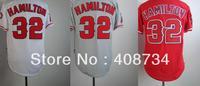 Free shipping-Los Angeles Angels #32 Josh Hamilton White/Grey/Red jersey,Angels jerseys