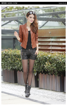 Free shipping women's slim faux leather short jacket female motorcycle pu leather plus size outwear jacket