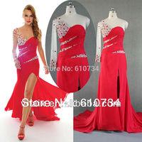 Real Sample E0057 Elegant Arabic Style Beaded Red One Shoulder Formal Long Sleeve Evening Dress