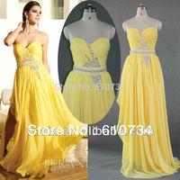E0178 Real Sample Sweetheart Beaded Chiffon Long Yellow Evening Dress Fashion 2013