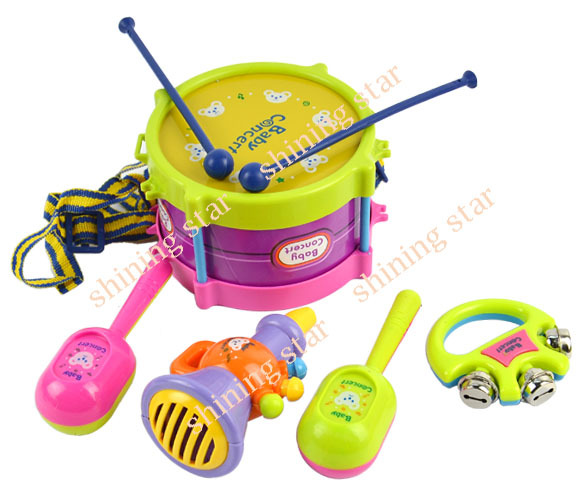 Free shipping Kids Children Toy Gift Set 5pcs Roll toy Drum Musical Instruments Band Kit 8840(China (Mainland))